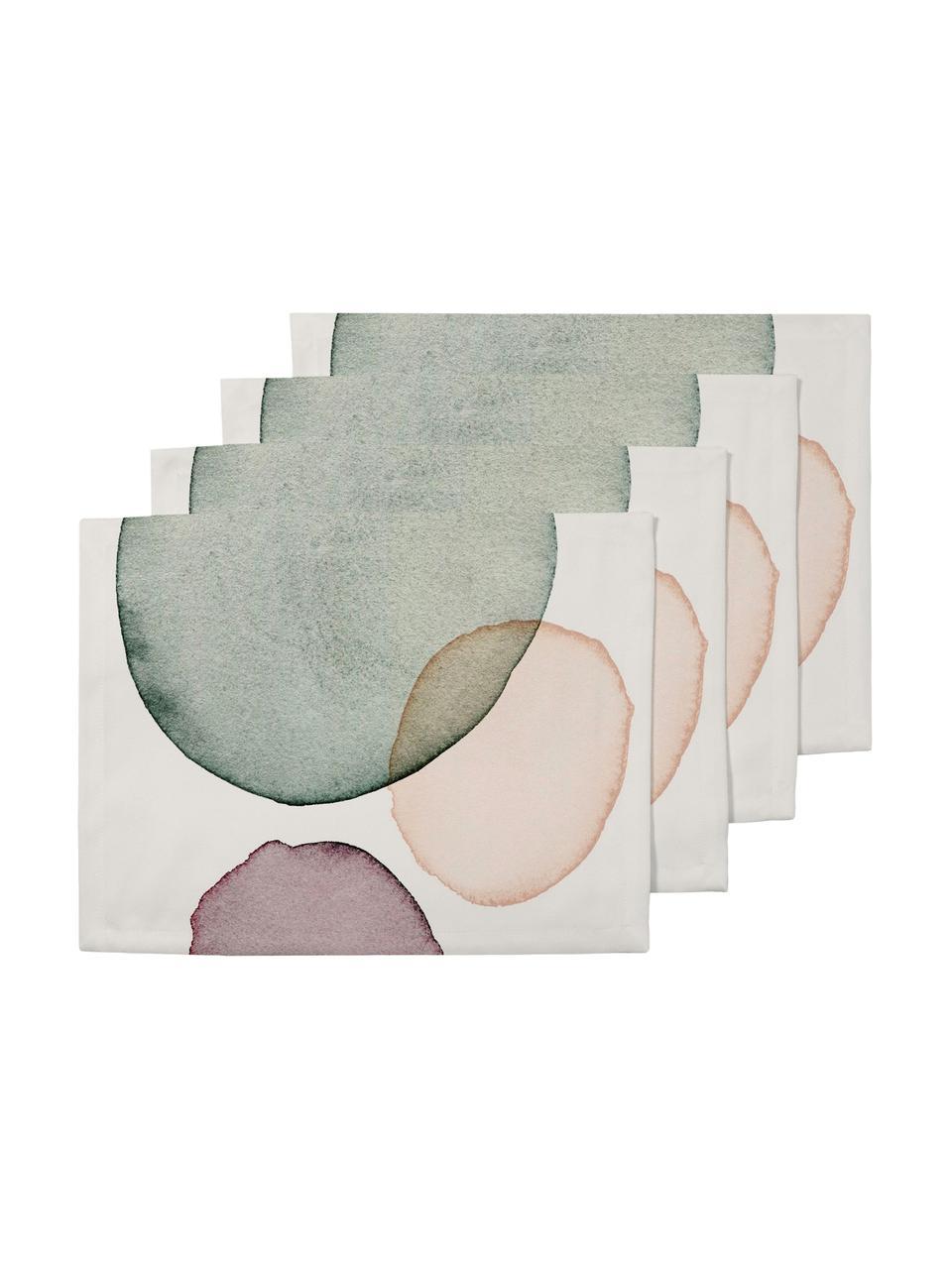 Tovaglietta americana Calm 4 pz, Poliestere, Bianco, verde, lilla, salmone, Larg. 35 x Lung. 45 cm