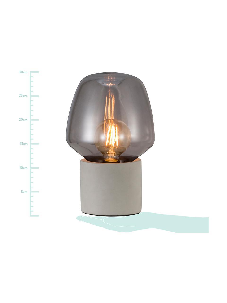 Kleine tafellamp Christina met betonnen voet, Lampenkap: glas, Lampvoet: betonkleurig, Betongrijs, grijs, transparant, Ø 20 x H 30 cm