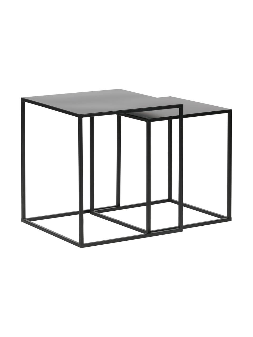 Set 2 tavolini in metallo Ziva, Metallo verniciato, Nero opaco, Set in varie misure