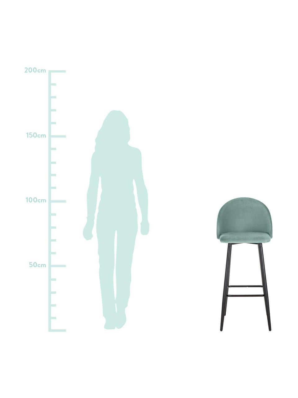 Samt-Barstuhl Amy in Türkis, Bezug: Samt (Polyester) 20.000 S, Beine: Metall, pulverbeschichtet, Samt Türkis, 45 x 103 cm