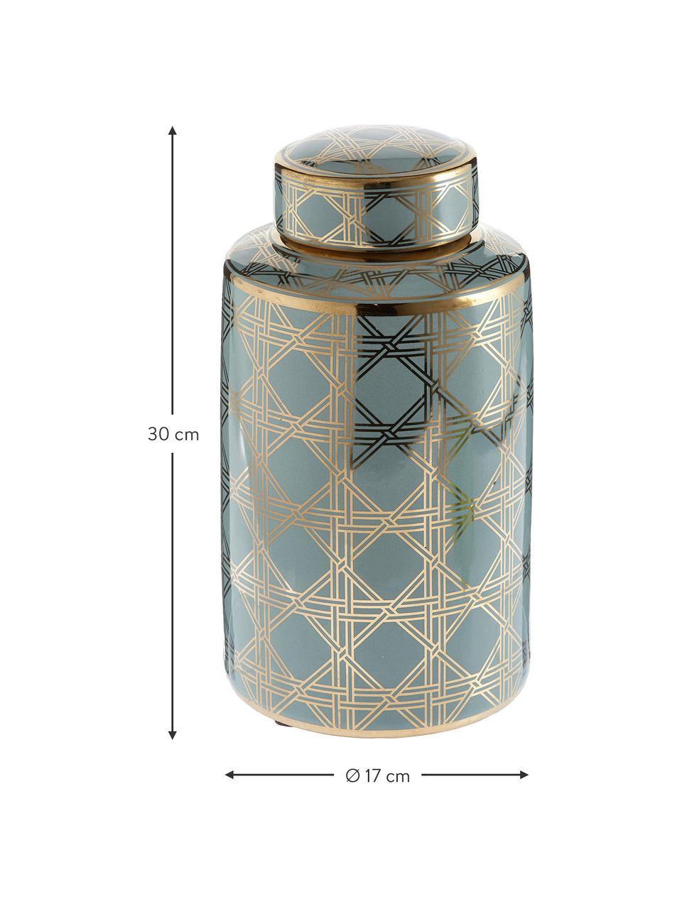 Vaso con coperchio in porcellana Egypt, Porcellana, Turchese, dorato, Ø 17 x Alt. 30 cm