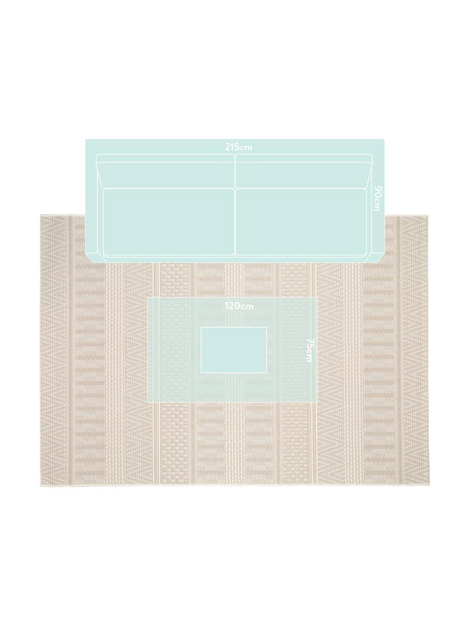 In- & outdoor vloerkleed Naoto met een subtiel  ethno patroon, 100% polypropyleen, Crèmekleurig, lichtbeige, 200 x 290 cm