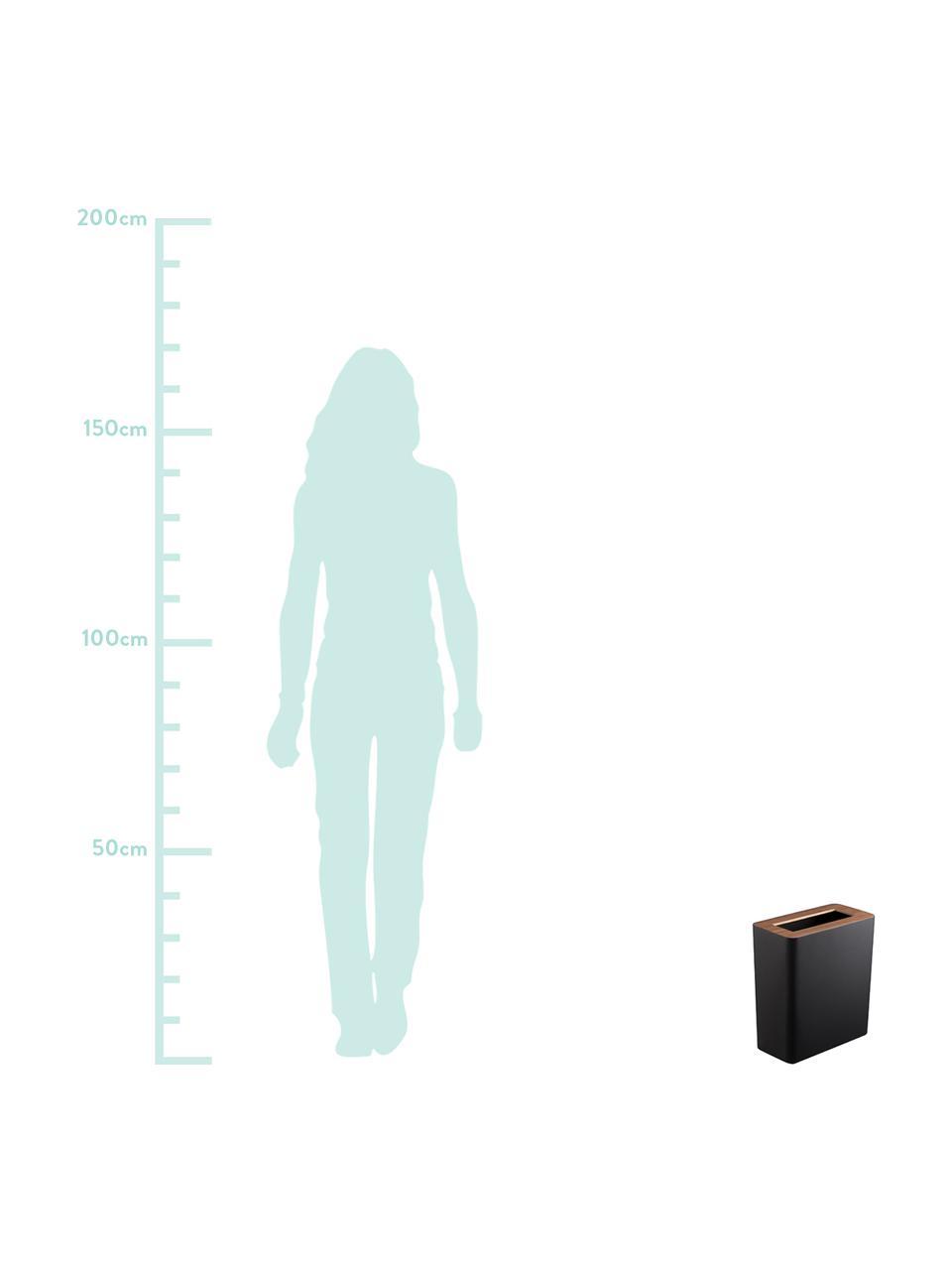 Papierkorb Rin aus lackiertem Stahl, Deckel: Holz, Schwarz, Dunkelbraun, 28 x 30 cm