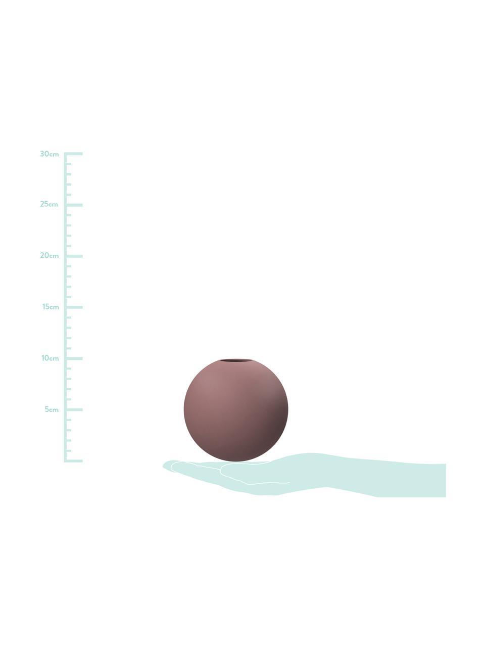 Vaso a sfera fatto a mano Ball, Ceramica, Rosa cipria, Ø 20 x Alt. 20 cm