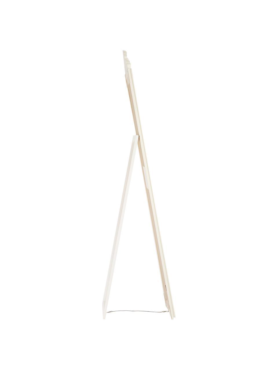 Standspiegel Lambeth mit Holzrahmen, Rahmen: Paulowniaholz, Polyresin,, Spiegelfläche: Spiegelglas, Weiß, 46 x 179 cm