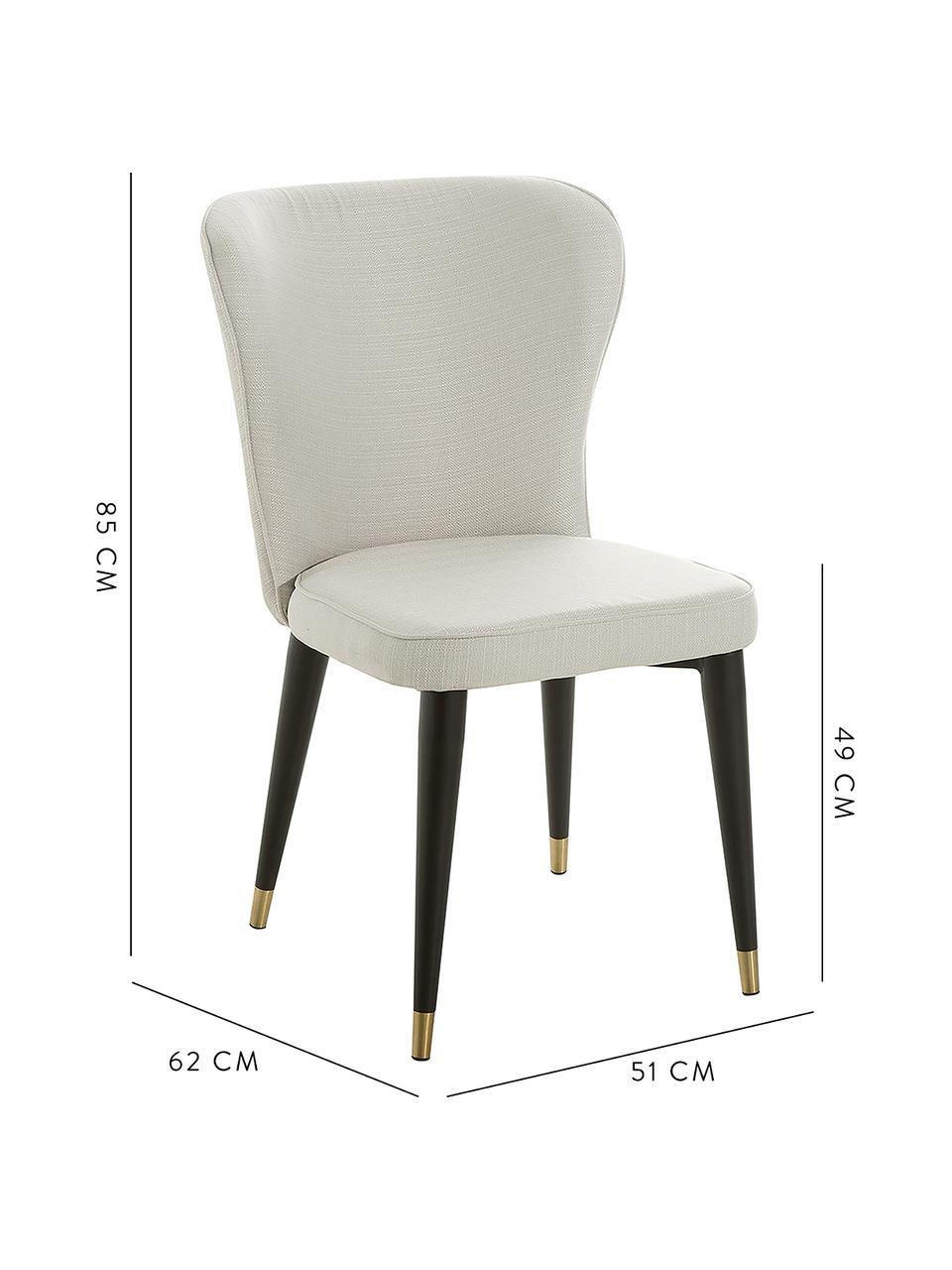 Krzesło tapicerowane Cleo, Tapicerka: poliester Tkanina o odpor, Tapicerka: pianka, Nogi: metal malowany proszkowo, Kremowobiały, S 51 x G 62 cm