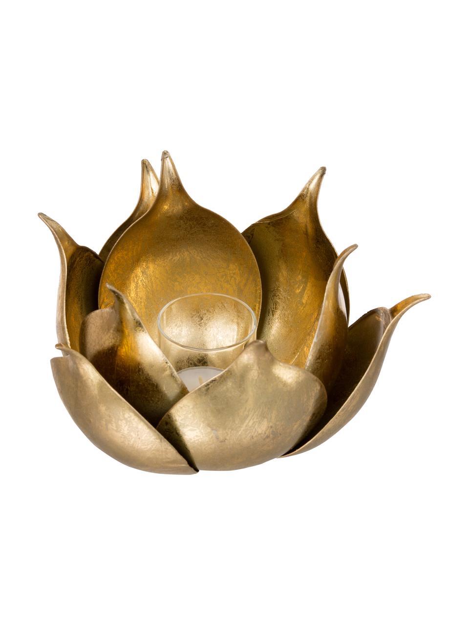 Świecznik na podgrzewacze Conla, Metal powlekany, Odcienie złotego, błyszczący, Ø 20 x W 11 cm
