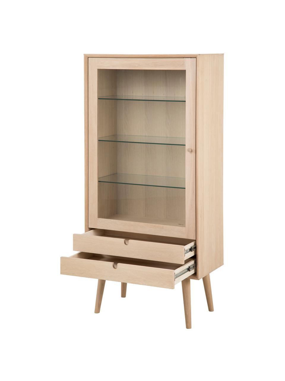 Glasvitrine Century mit Eichenholz-Rahmen, Beine: Eichenholz, weiß pigmenti, Eichenholz, Transparent, 72 x 143 cm