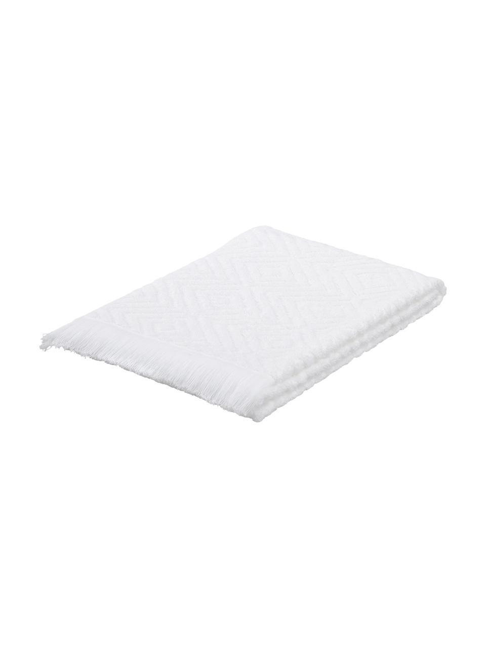 Handtuch Jacqui in verschiedenen Größen, mit Hoch-Tief-Muster, Weiß, Gästehandtuch