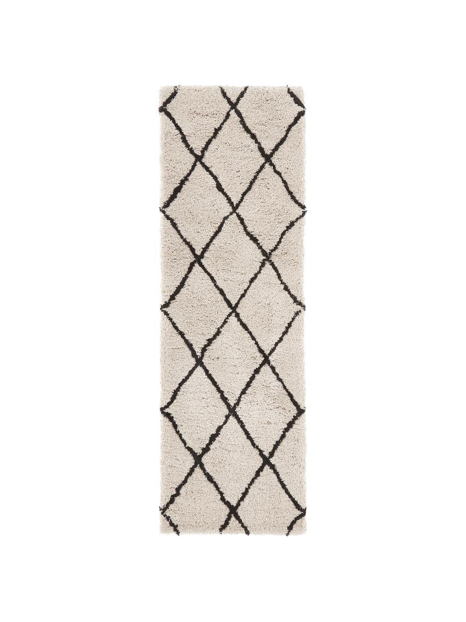 Puszysty ręcznie tuftowany chodnik z wysokim stosem Naima, Beżowy, czarny, S 80 x D 300 cm