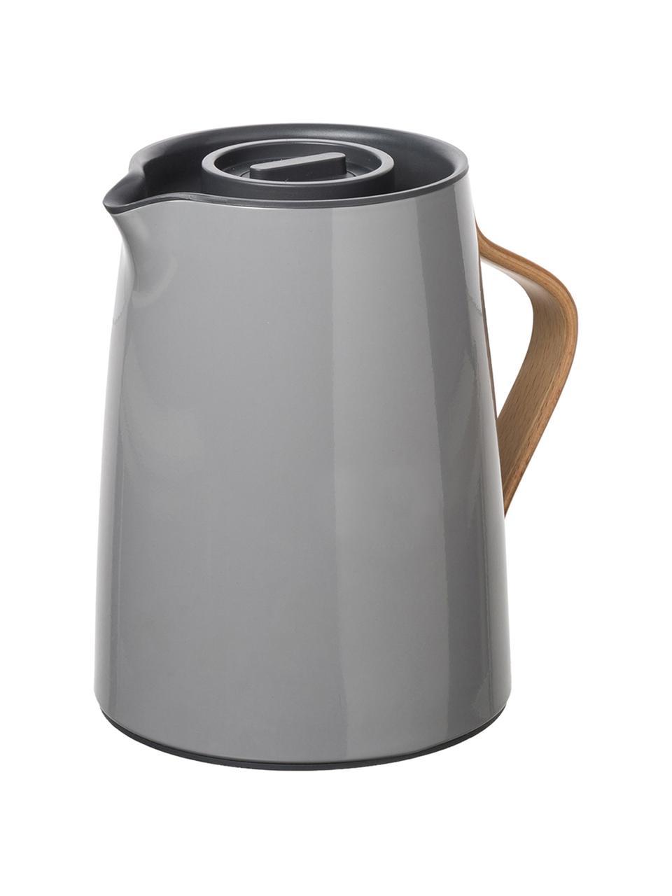Teezubereiter Emma in Grau glänzend, 1 L, Korpus: Stahl, Beschichtung: Emaille, Griff: Buchenholz, Grau, 1 l