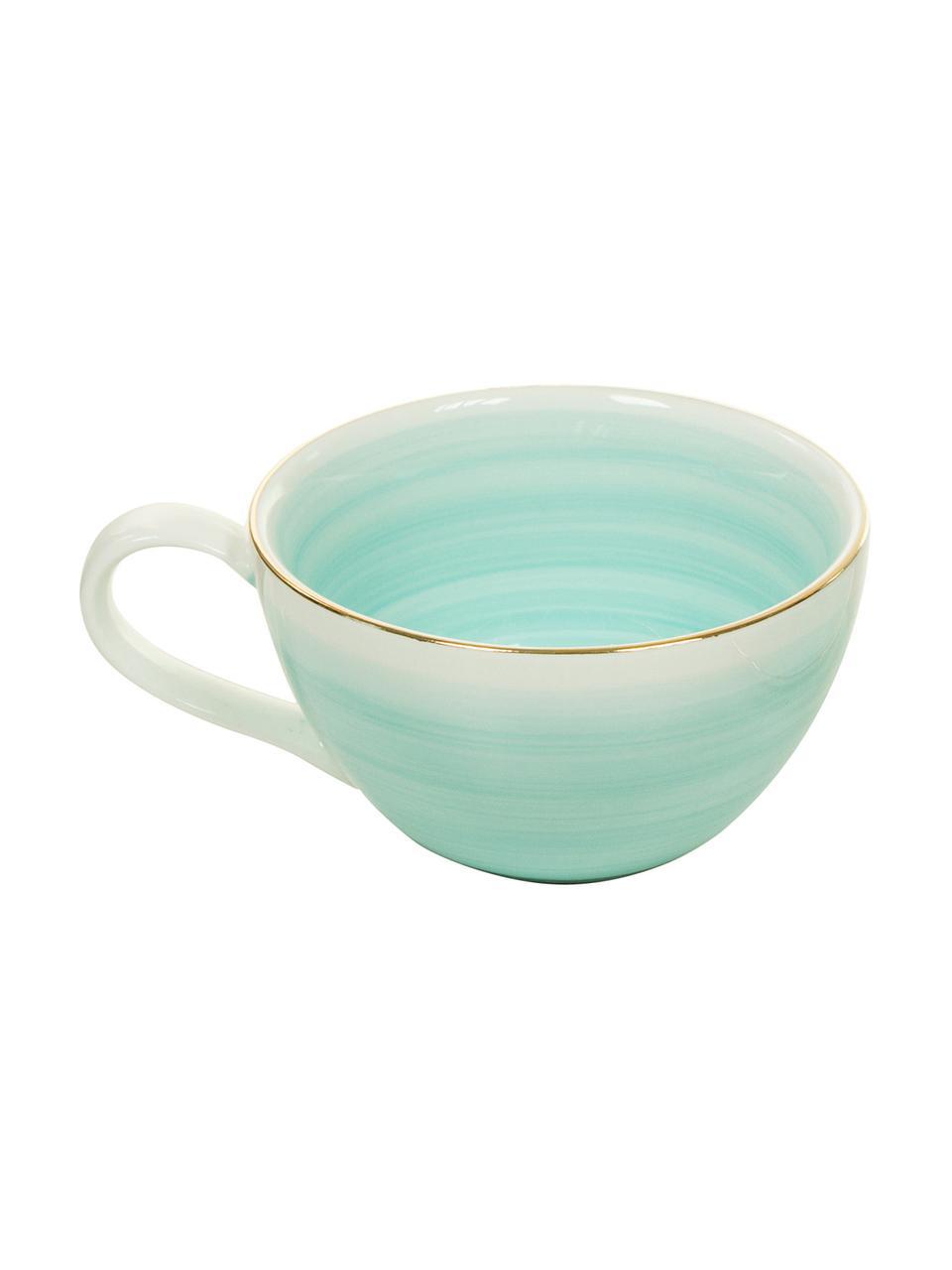 Komplet ręcznie wykonanych filiżanek do espresso Bella, 4 elem., Porcelana, Turkusowoniebieski, Ø 9 x W 5 cm