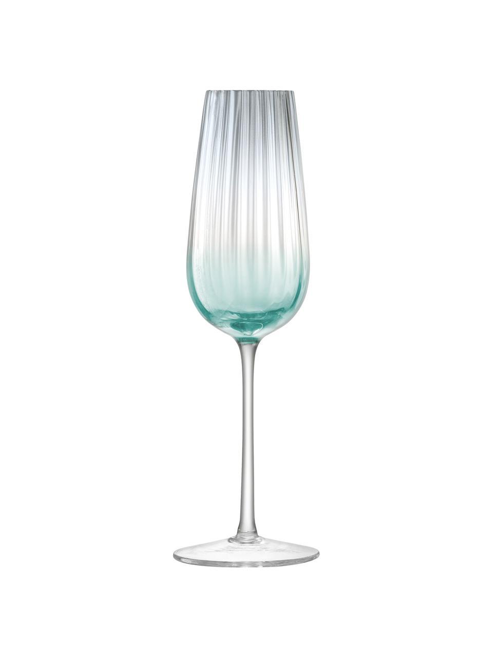 Flute champagne fatti a mano con gradiente Dusk 2 pz, Vetro, Verde, grigio, Ø 23 x Alt. 6 cm