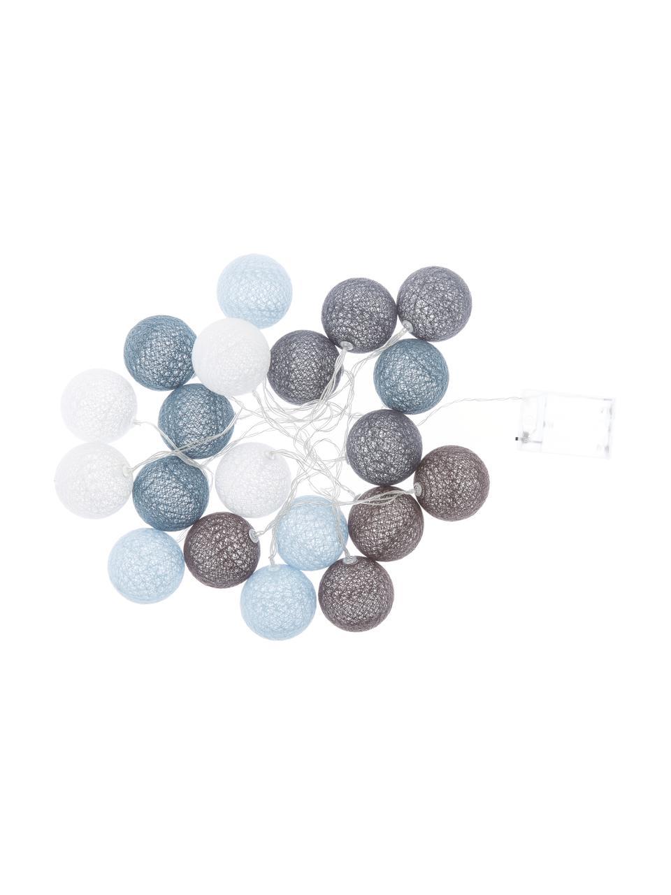 LED-Lichterkette Bellin, 320 cm, Lampions: Baumwolle, Blau, Hellblau, Dunkelblau, Weiß, L 320 cm