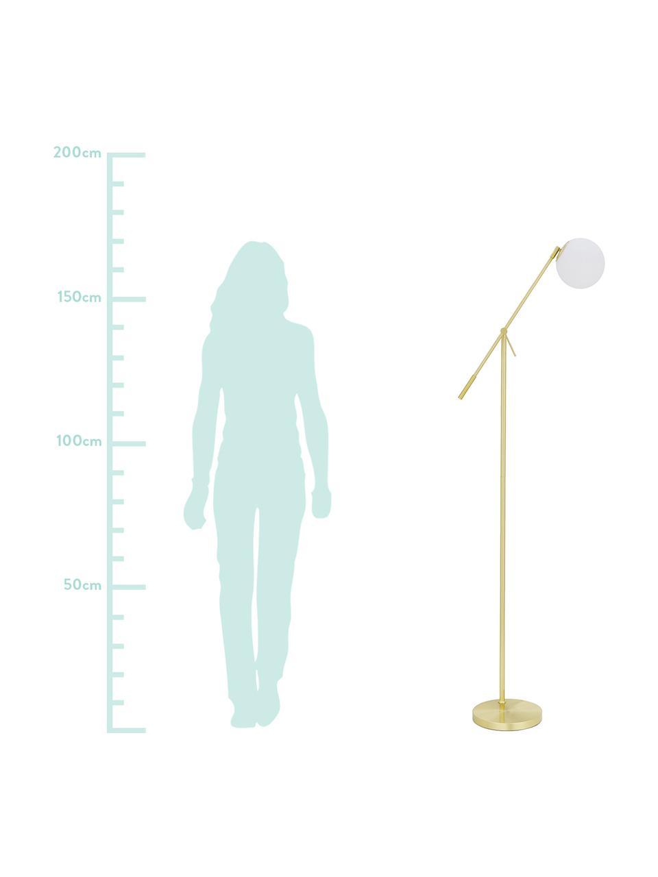 Vloerlamp Moon van opaalglas, Lampenkap: glas, Lampvoet: vermessingd metaal, Baldakijn en fitting: geborsteld messingkleurig. Lampenkap: wit. Snoer: zwart, Ø 17 x H 162 cm