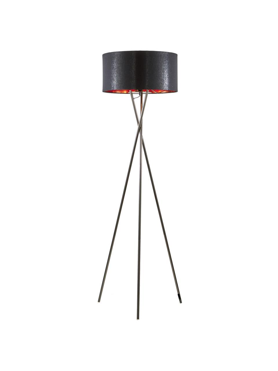 Tripod Stehlampe Giovanna mit Kupfer-Dekor, Lampenfuß: Stahl, schwarzverchromt, Schwarz, Kupfer, Ø 45 x H 154 cm