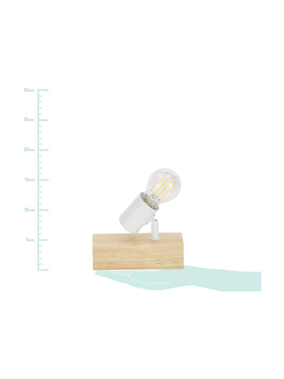 Kinkiet z drewna Townshend, Biały, drewno naturalne, S 5 x W 17 cm