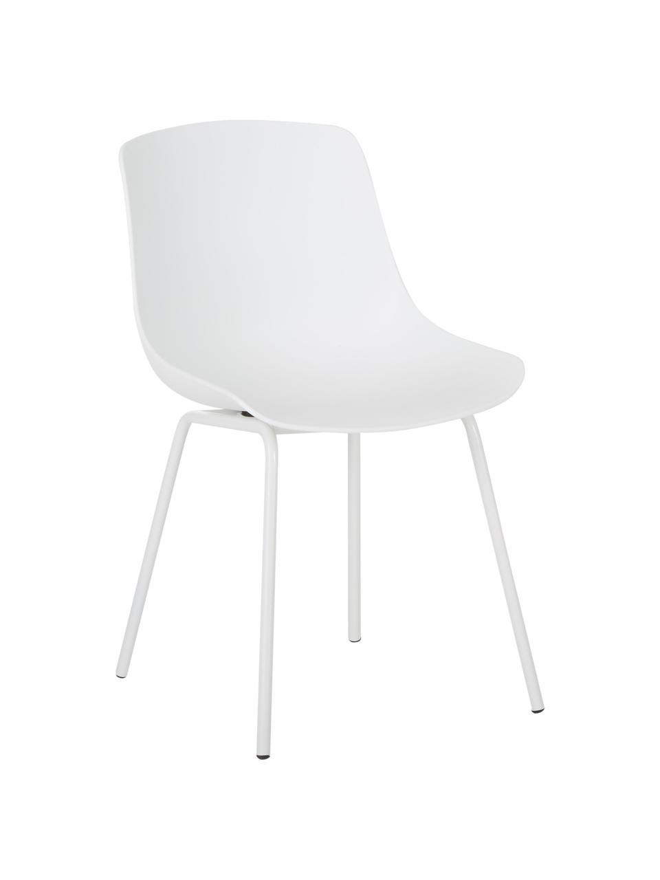 Krzesło z tworzywa sztucznego z metalowymi nogami Joe, 2 szt., Nogi: metal malowany proszkowo, Biały, S 46 x G 53 cm