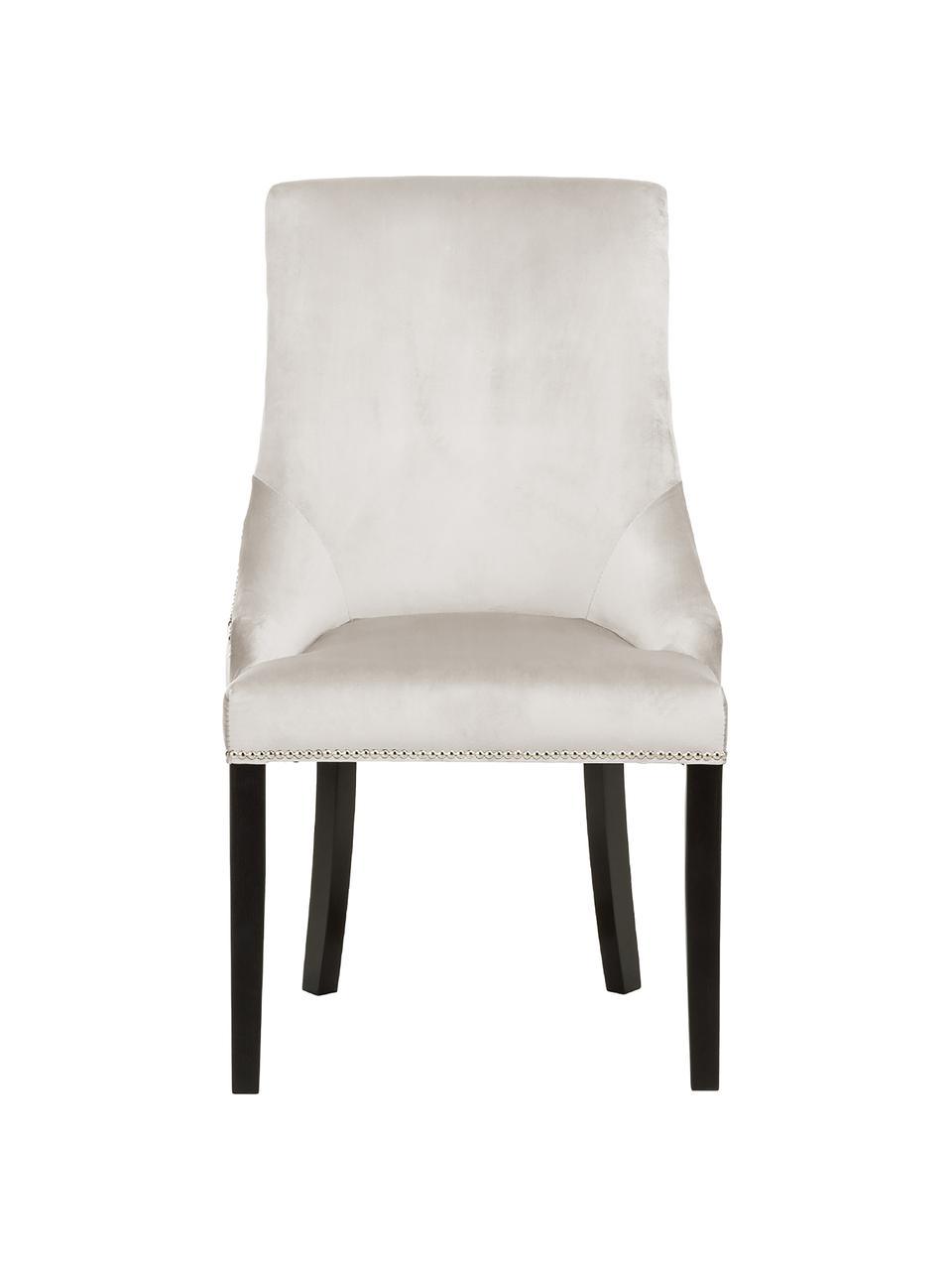 Krzesło tapicerowane z aksamitu Georgia, Tapicerka: aksamit (poliester) 35 00, Nogi: lite, lakierowane drewno , Odcienie kremowego, czarny, stalowy, S 56 x G 62 cm