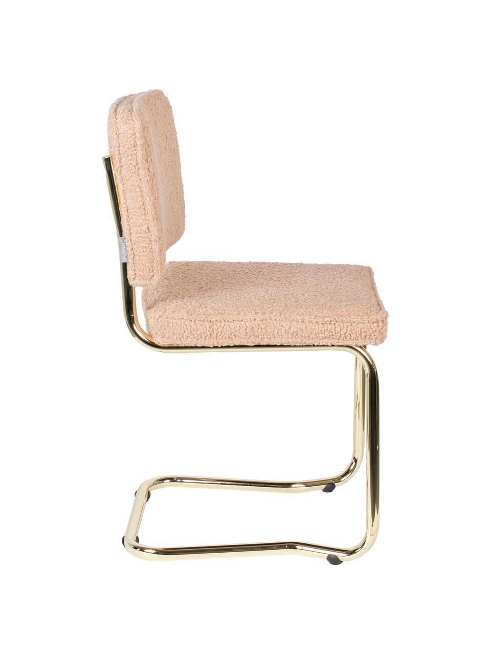Chaise cantilever tissu peluche Kink, Rose, couleur laitonnée