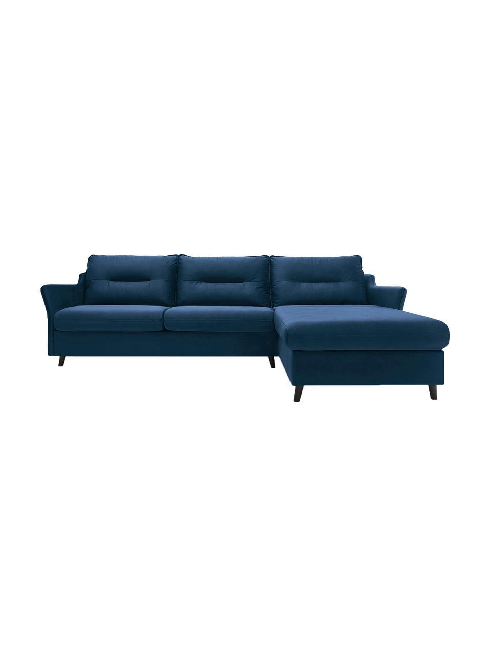 Sofa narożna z aksamitu z funkcją spania Loft, Tapicerka: 100% aksamit poliestrowy, Nogi: metal lakierowany, Granatowy, S 275 x G 181 cm