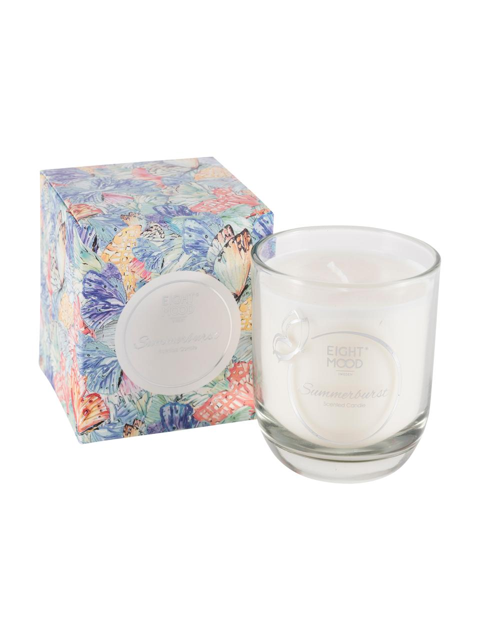 Duftkerze Summerburst (Apfel, Cassis & Orange), Box: Papier, Behälter: Glas, Blau, Mehrfarbig, 8 x 9 cm