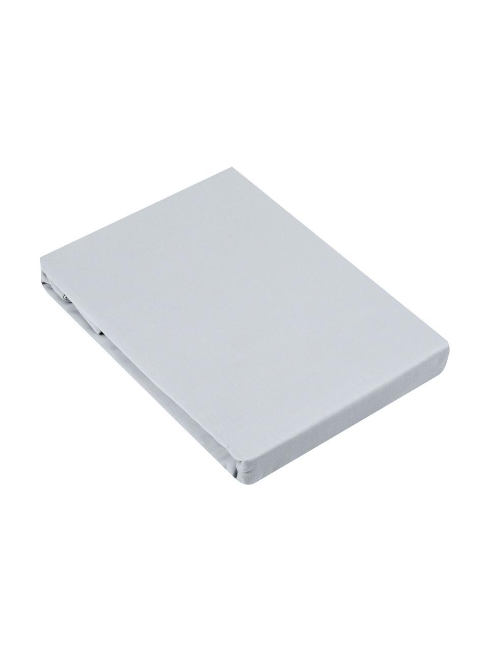 Boxspring-Spannbettlaken Comfort, Baumwollsatin, Webart: Satin, leicht glänzend, Hellgrau, 200 x 200 cm