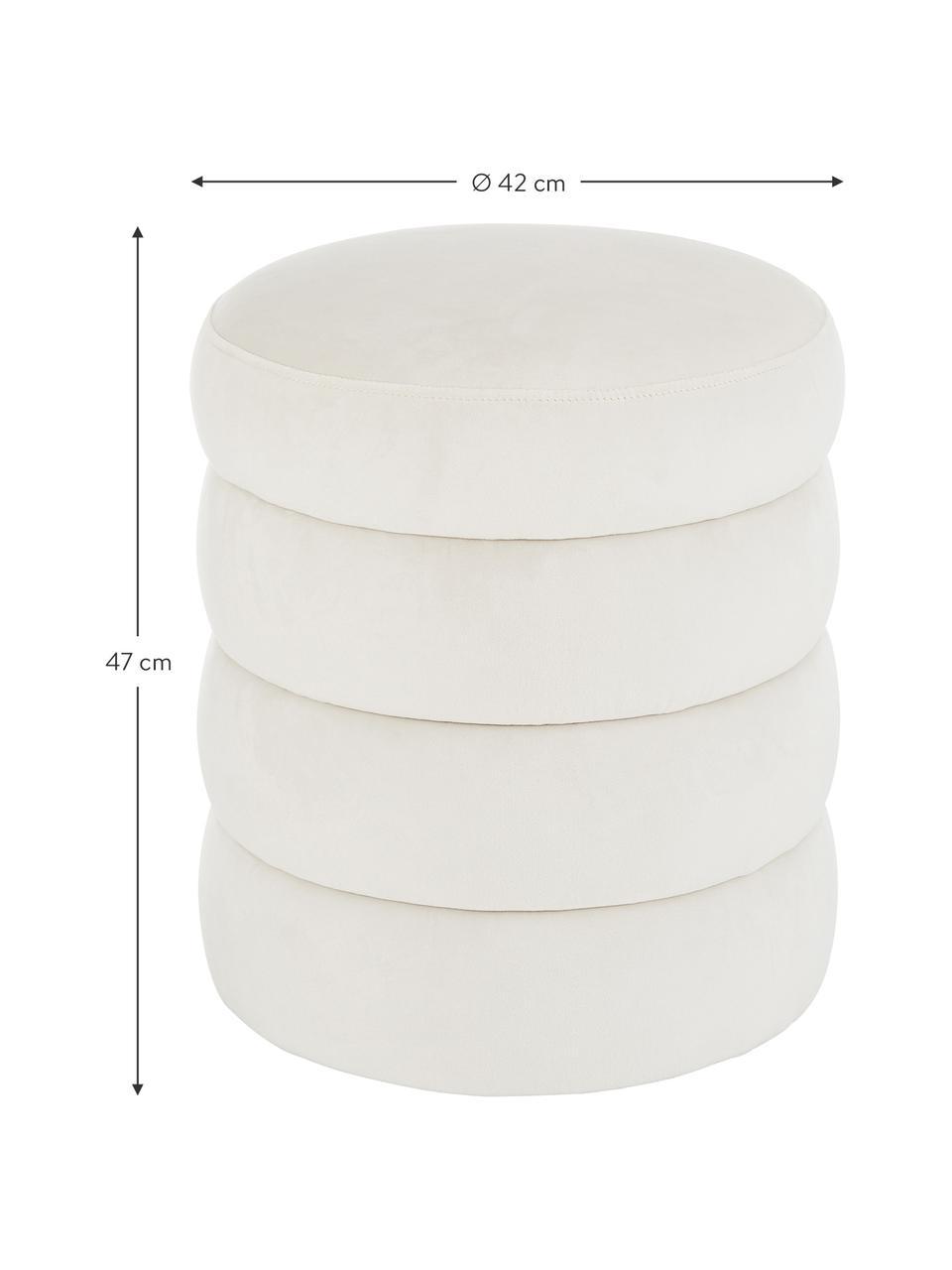 Puf de terciopelo Alto, Tapizado: terciopelo (poliéster) Al, Estructura: madera de pino maciza, ma, Blanco crema, Ø 42 x Al 47 cm
