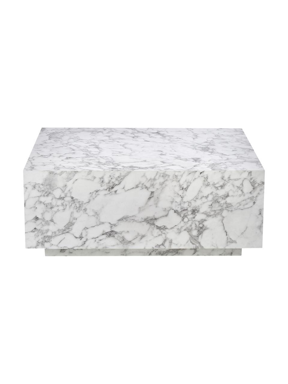 Zwevende salontafel Lesley met marmerlook, MDF bekleed met melaminefolie, Wit, gemarmerd, 90 x 35 cm