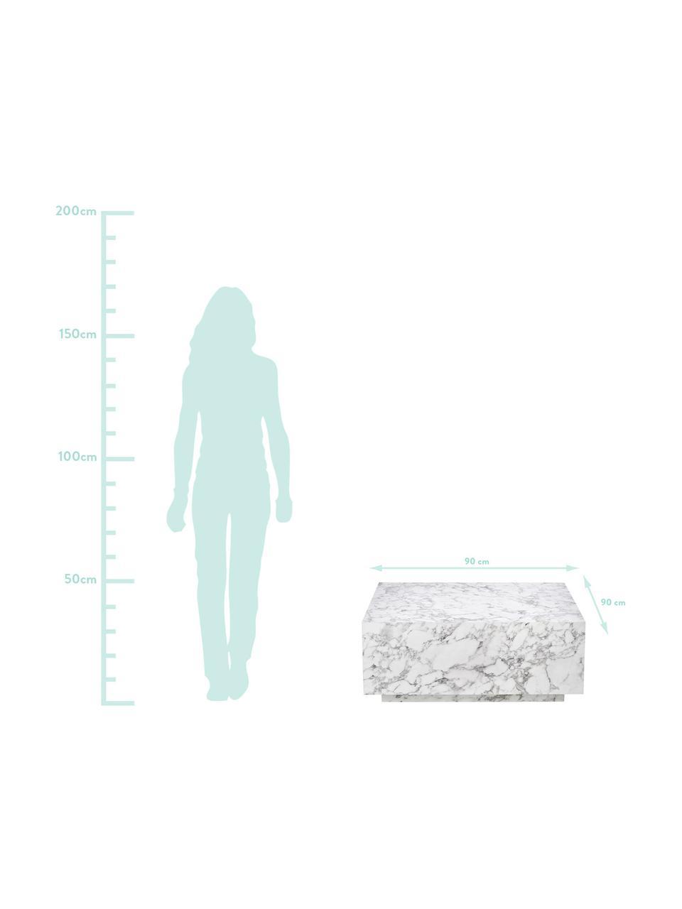 Tavolino da salotto bianco effetto marmo Lesley, Pannello di fibra a media densità (MDF) rivestito con foglio di melamina, Bianco marmorizzato, Larg. 90 x Alt. 35 cm