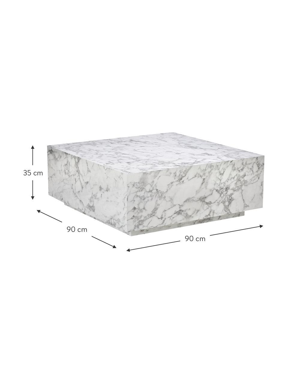Stolik kawowy z imitacji marmuru Lesley, Płyta pilśniowa średniej gęstości (MDF) pokryta folią melaminową, Biały, marmurowy, błyszczący, S 90 x W 35 cm
