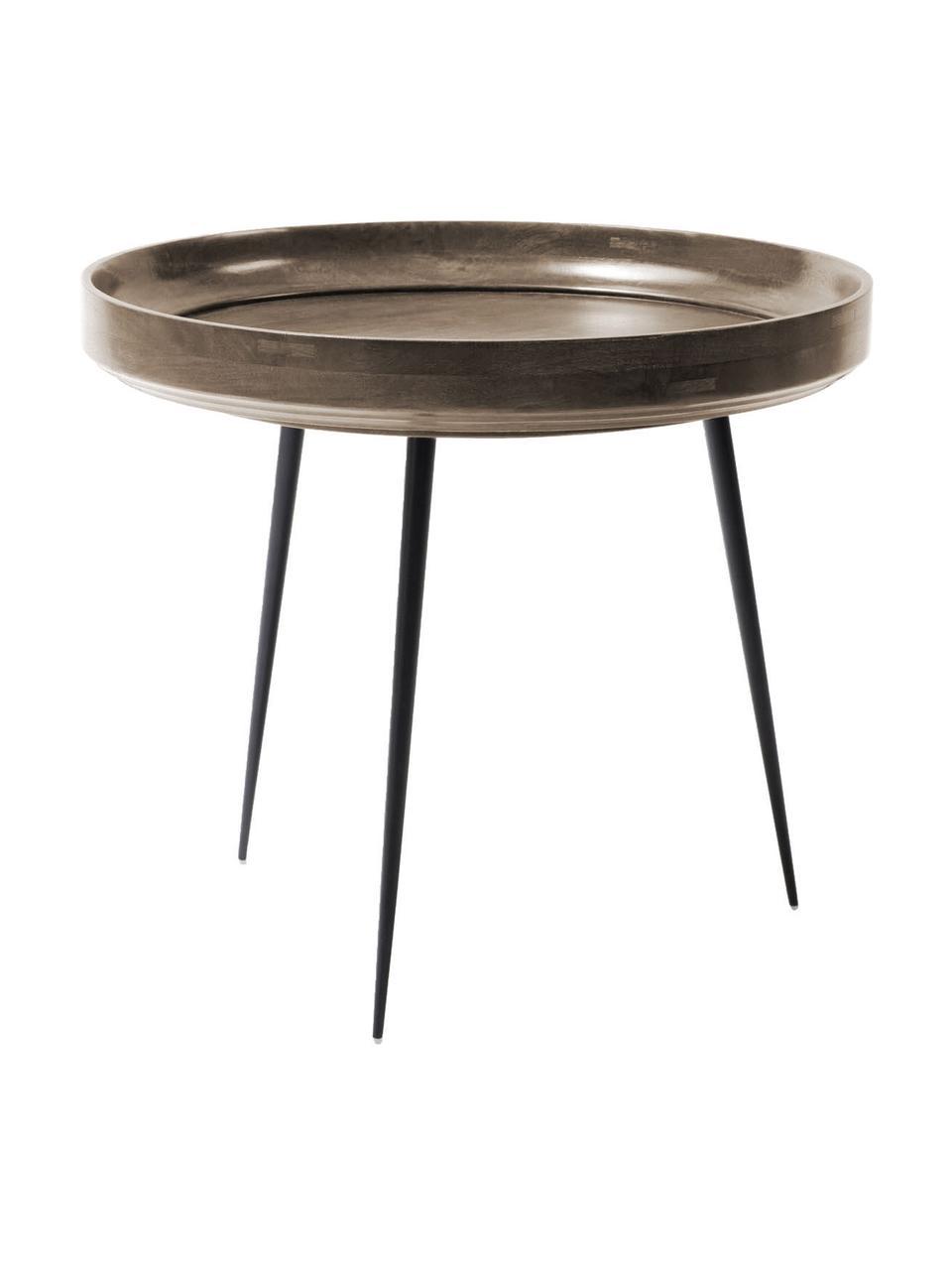Kleine design bijzettafel Bowl Table van mangohout, Tafelblad: gebeitst en gelakt mangoh, Poten: gepoedercoat staal, Grijsbruin, zwart, Ø 53 x H 46 cm