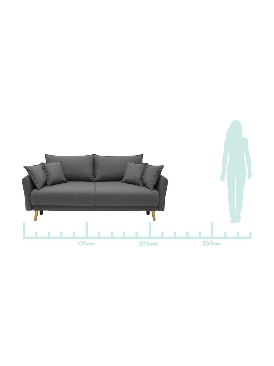 Sofa z funkcja spania i miejscem do przechowywania Mia (3-osobowa), Tapicerka: kaszmir, Nogi: drewno bukowe, Ciemnyszary, S 228 x G 102 cm