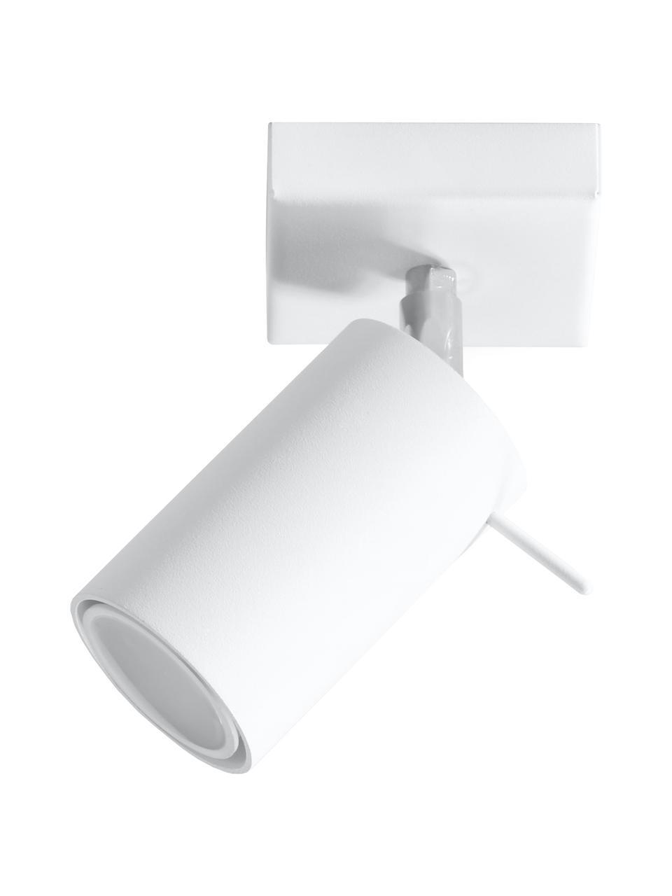 Wand- und Deckenstrahler Etna in Weiß, Lampenschirm: Stahl, lackiert, Baldachin: Stahl, lackiert, Weiß, 10 x 15 cm