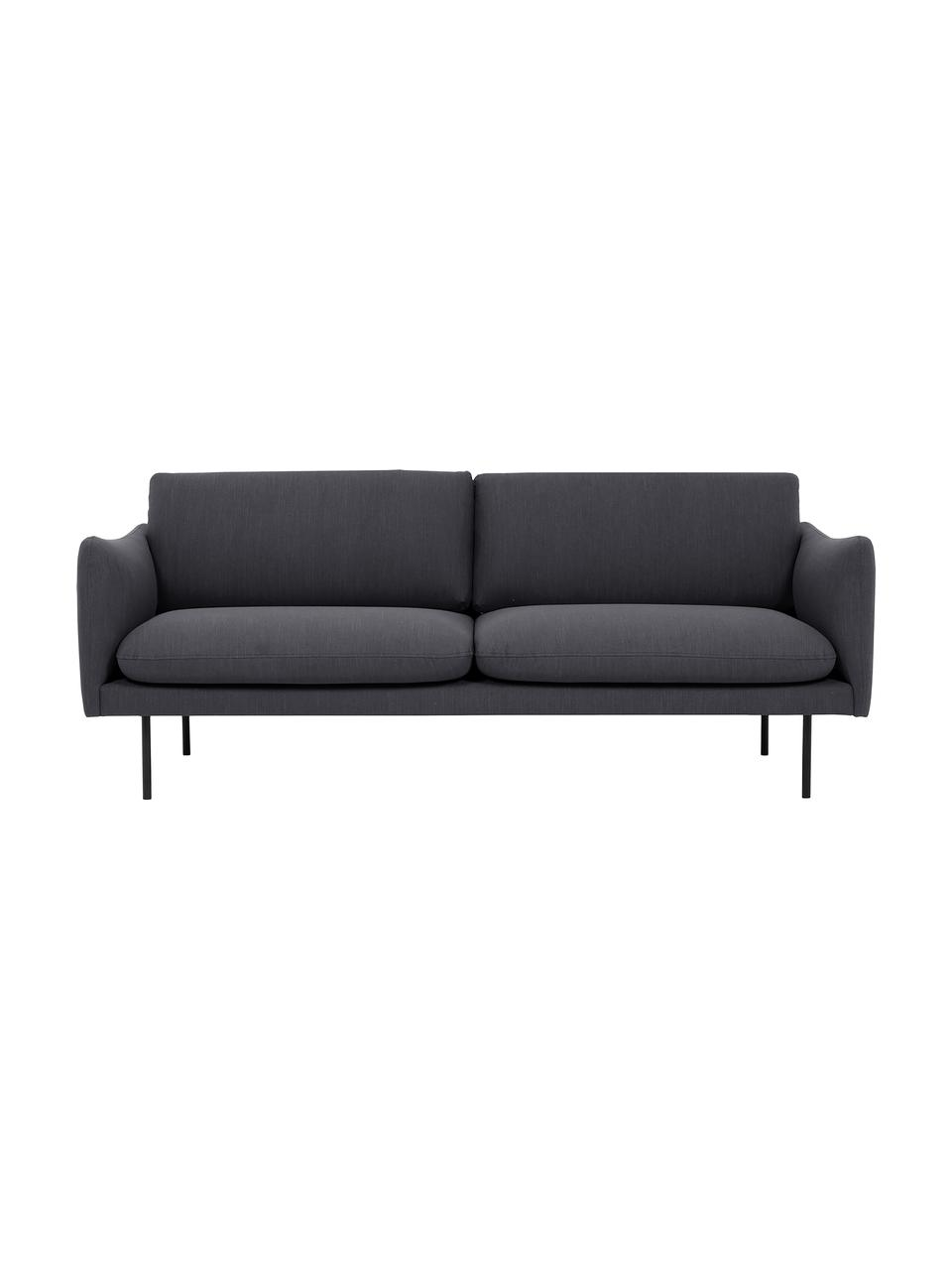 Sofa Moby (2-Sitzer) in Dunkelgrau mit Metall-Füßen, Bezug: Polyester Der hochwertige, Gestell: Massives Kiefernholz, Füße: Metall, pulverbeschichtet, Webstoff Dunkelgrau, B 170 x T 95 cm