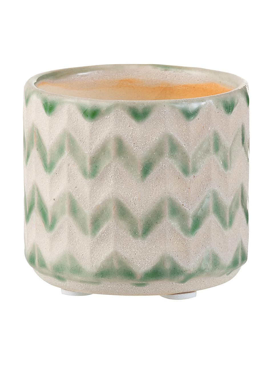Pot de fleurs céramique Zigzag, Vert, beige clair