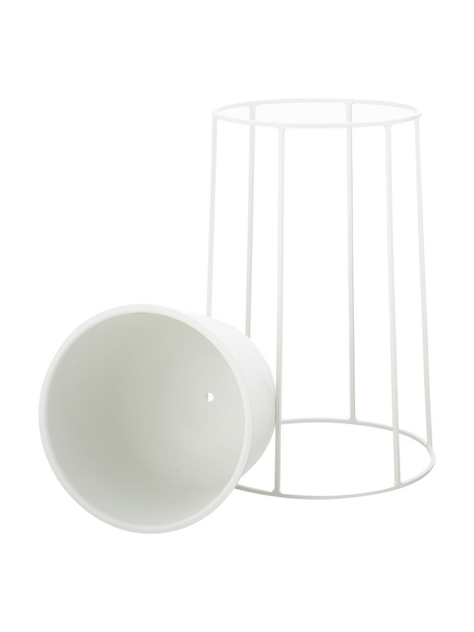 Pflanztopfständer Wire Base, Stahl, pulverbeschichtet, Weiß, Ø 23 x H 40 cm