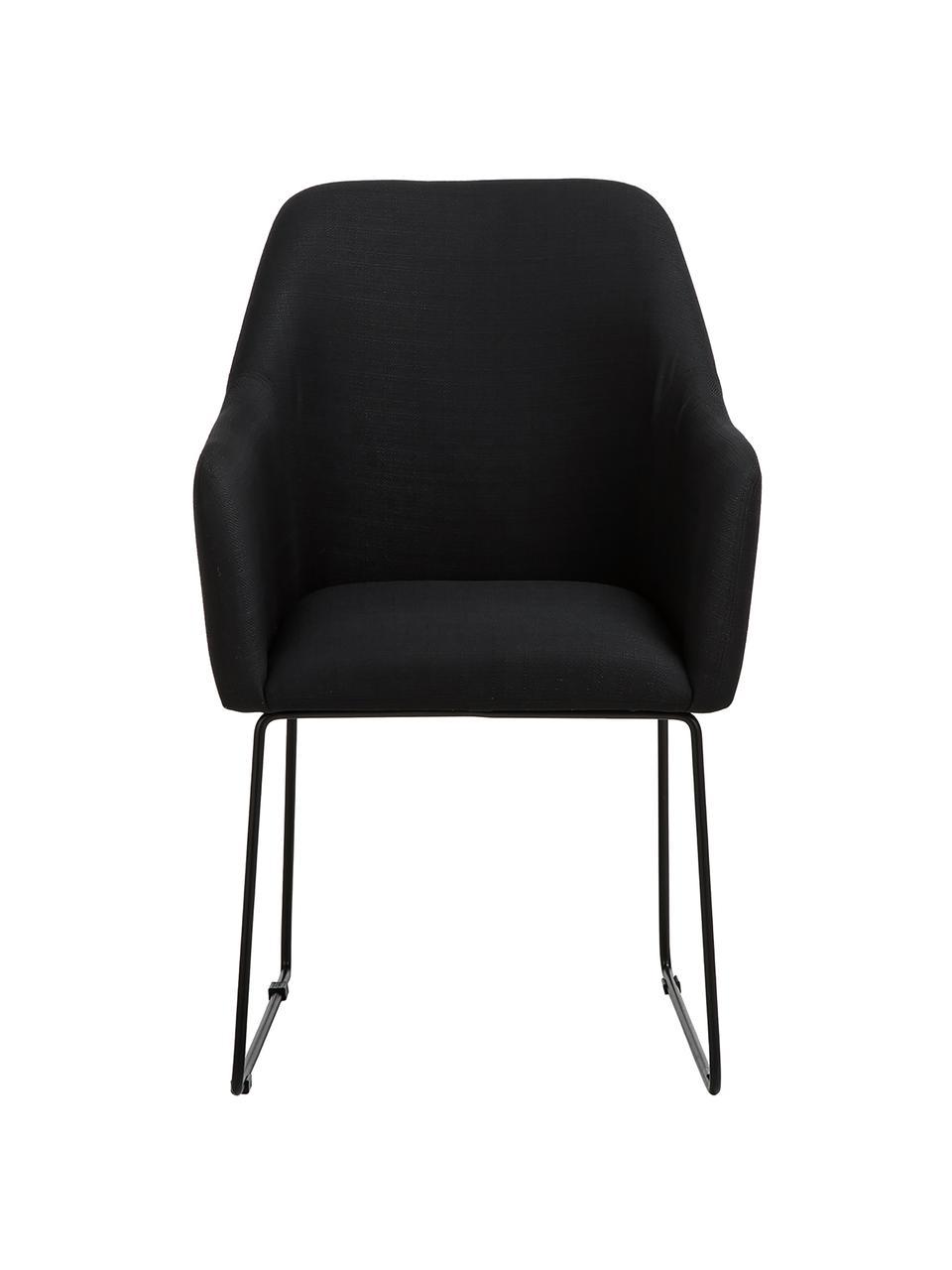 Chaise rembourrée moderne Isla, Tissu noir, pieds noir