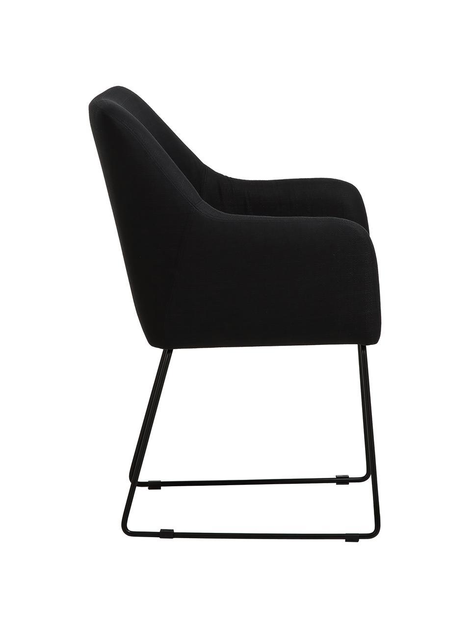 Sedia in velluto con braccioli Isla, Rivestimento: poliestere Con 50.000 cic, Gambe: metallo verniciato a polv, Tessuto nero, gambe nere, Larg. 58 x Prof. 62 cm