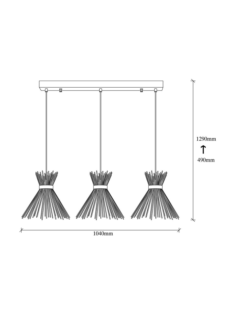 Lampada a sospensione Kirpi, Paralume: metallo rivestito, Baldacchino: metallo rivestito, Ottonato, nero, Larg. 104 x Alt. 129 cm