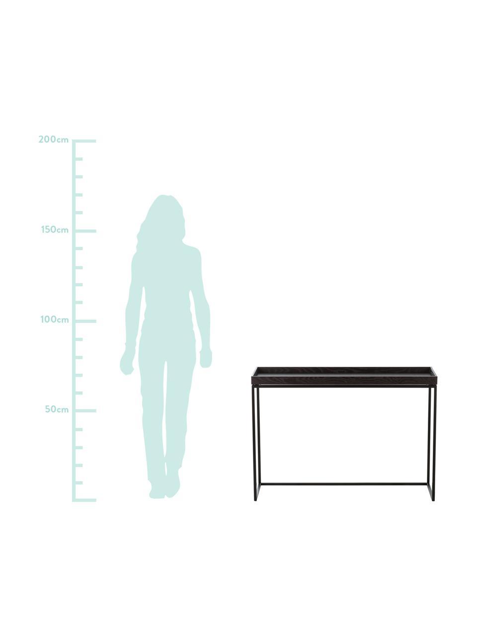Designer-Konsole Pizzo in Schwarz, Gestell: Stahl, pulverbeschichtet, Ablage: Eiche, wengefarben gebeiz, Schwarz, B 100 x T 34 cm