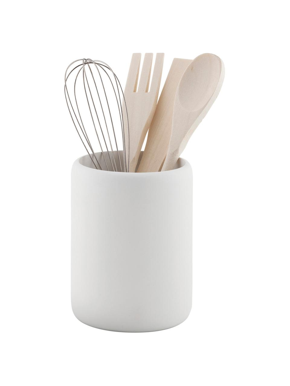 Küchenutensilien-Set Botta, 5-tlg., Behälter: Polyresin, Weiß, Holz, Ø 11 x H 23 cm