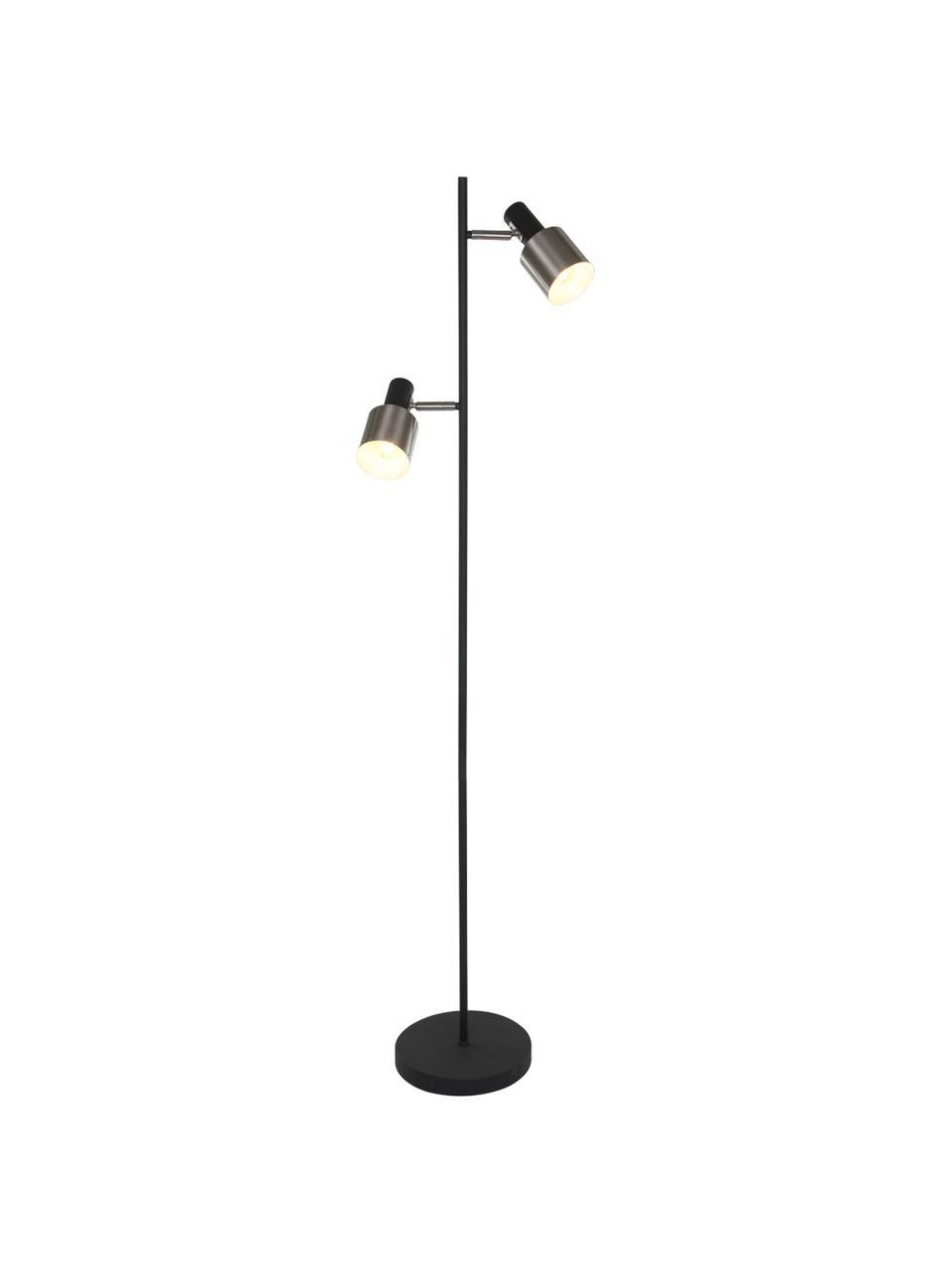 Stehlampe Fjorgard aus Metall, Lampenschirm: Metall, lackiert, Lampenfuß: Metall, lackiert, Schwarz, Silberfarben, matt, Ø 30 x H 155 cm