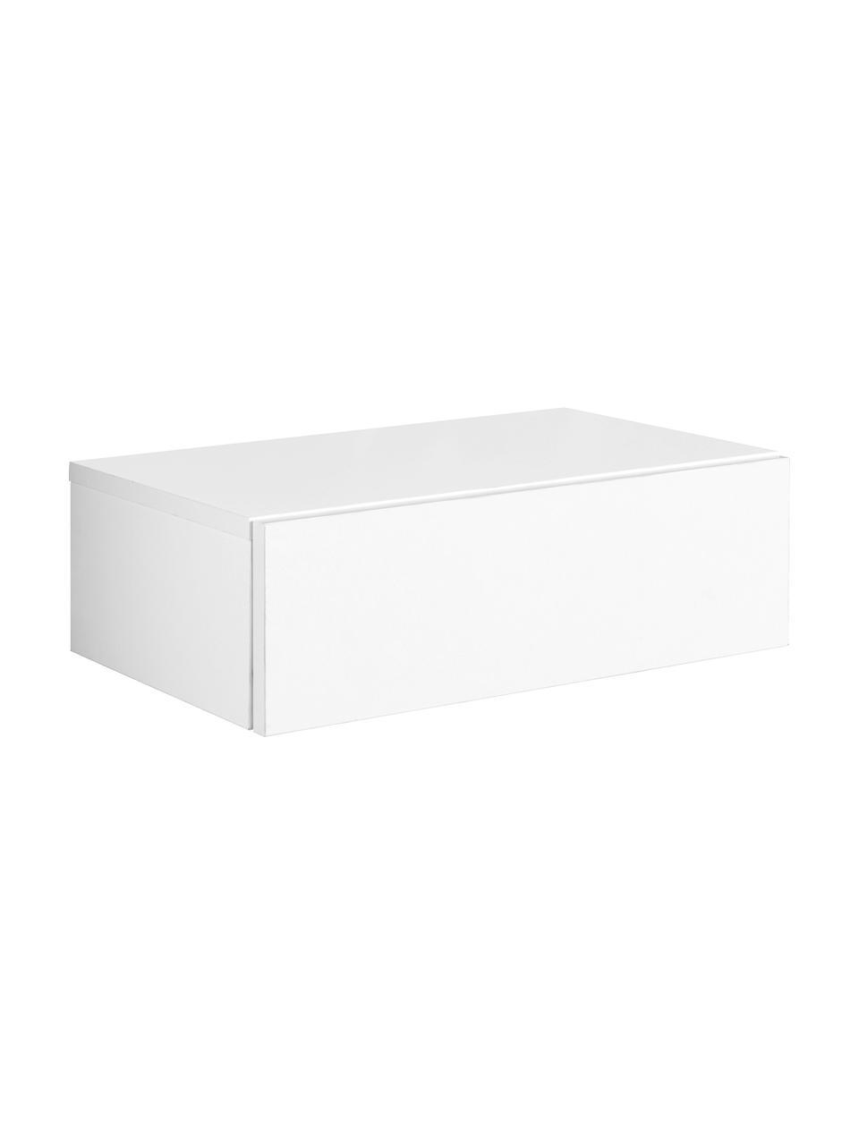 Comodino a muro con cassetto Dream, Bianco, Larg. 46 x Alt. 15 cm