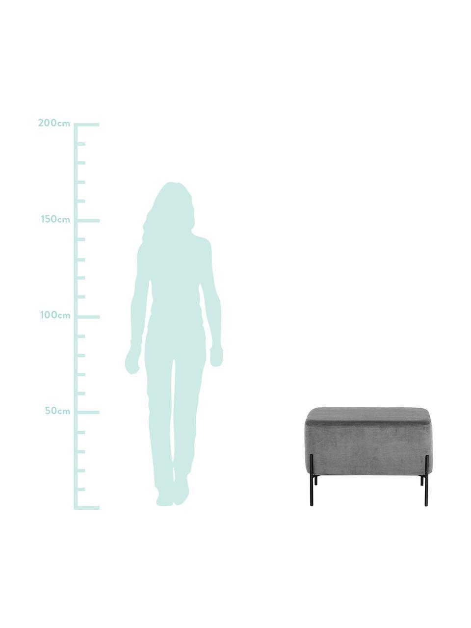 XL Samt-Hocker Harper, Bezug: Baumwollsamt, Fuß: Metall, pulverbeschichtet, Grau, Schwarz, 64 x 44 cm