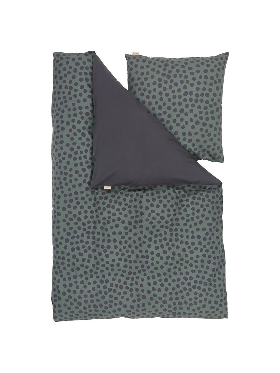 Baumwoll-Bettwäsche Spots and Dots, Webart: Renforcé Renforcé besteht, Dunkelgrün, Schwarz, 155 x 220 cm + 1 Kissen 80 x 80 cm
