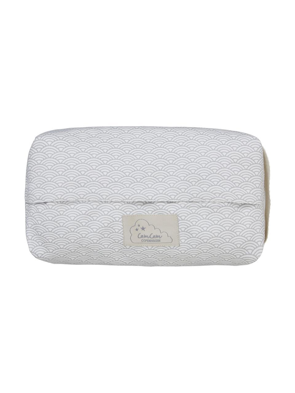 Feuchttücherbezug Wave aus Bio-Baumwolle, 100% Biobaumwolle, Grau, Weiß, B 25 x T 17 cm