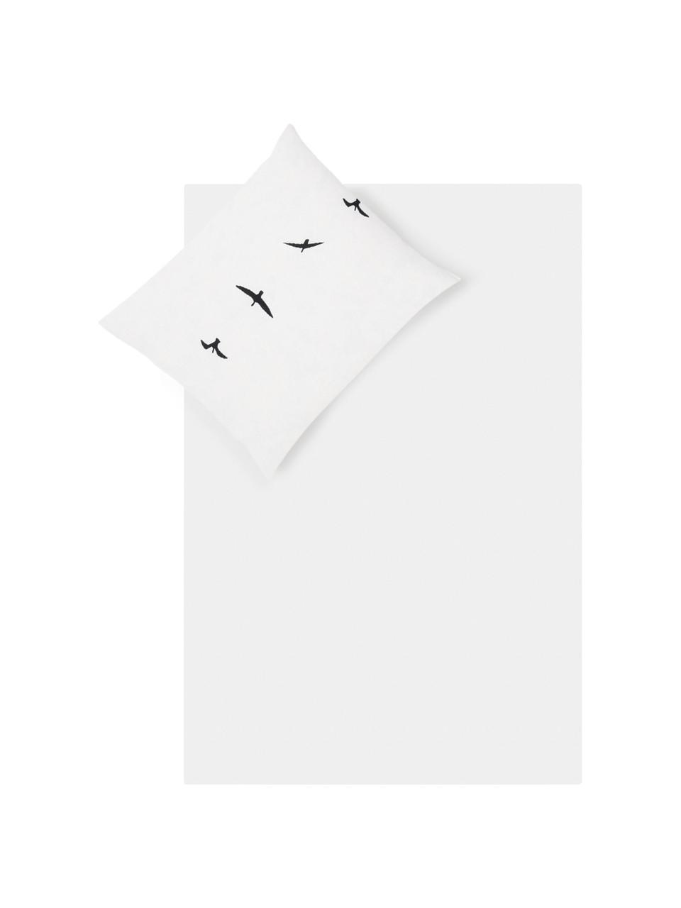 Dubbelzijdig dekbedovertrek Trip, Katoen, Bovenzijde: wit, zwart. Onderzijde: wit, 140 x 200 cm