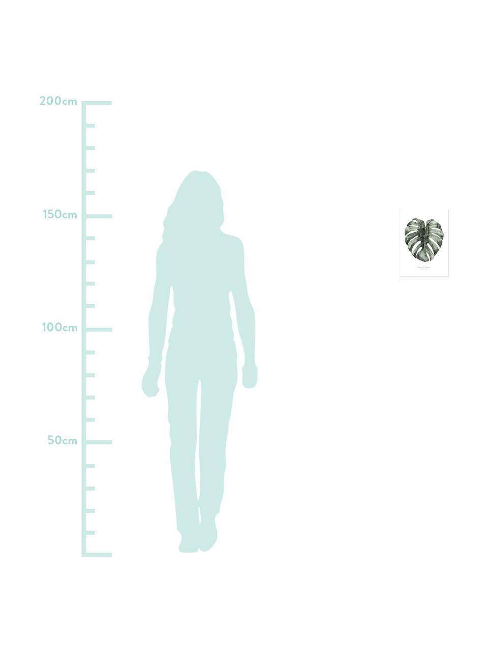Poster Urban Monstera, Digitaldruck auf Papier, 200 g/m², Weiß, Grün, 21 x 30 cm