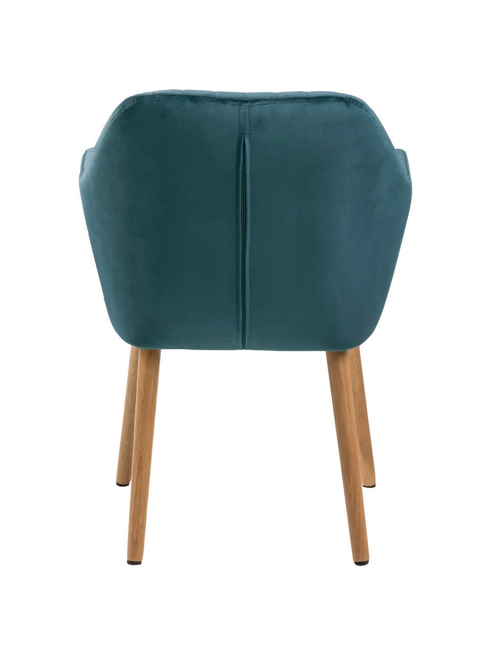 Krzesło tapicerowane z podłokietnikami z aksamitu Emilia, Tapicerka: poliester (aksamit), Nogi: drewno dębowe, olejowane , Tapicerka: butelkowy zielony Nogi: drewno dębowe, S 57 x G 59 cm